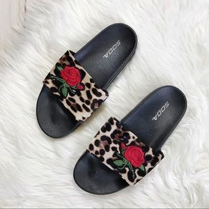 Soda Leopard Print Rose Slides Sandals